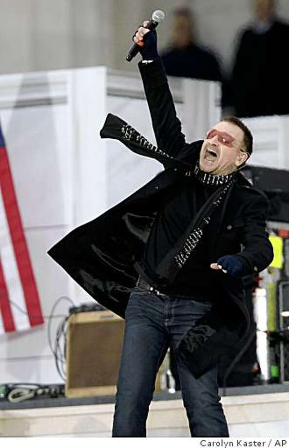 "Bono, lead singer for the band U2, performs during the "" We Are One: Opening Inaugural Celebration at the Lincoln Memorial"" in Washington, Sunday, Jan. 18, 2009. Photo: Carolyn Kaster, AP"