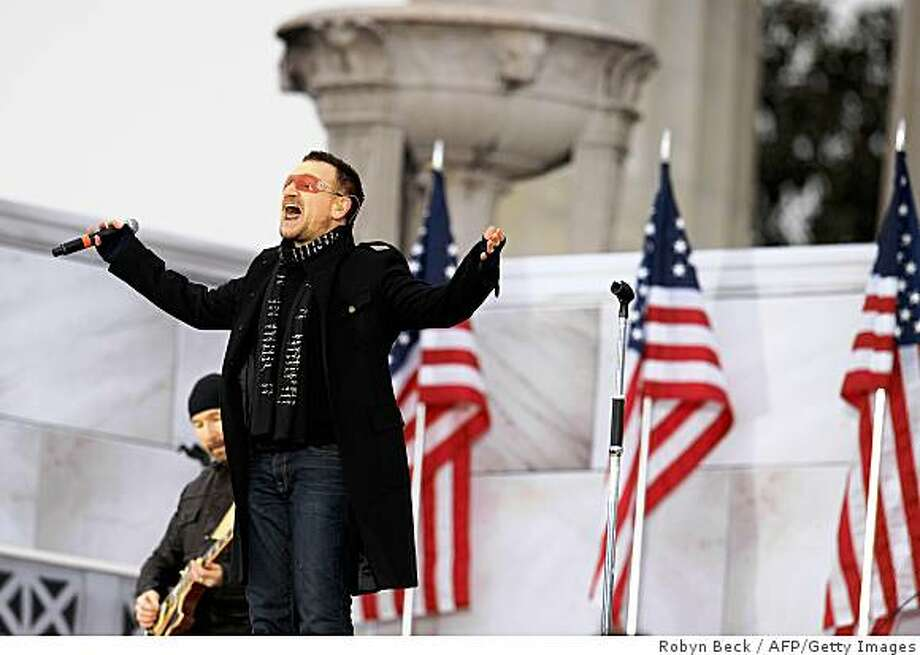"Bono performs at the 'We Are One"" concert, one of the events of US president-elect Barack Obama's inauguration celebrations, at the Lincoln Memorial in Washington on January 18, 2009. Photo: Robyn Beck, AFP/Getty Images"