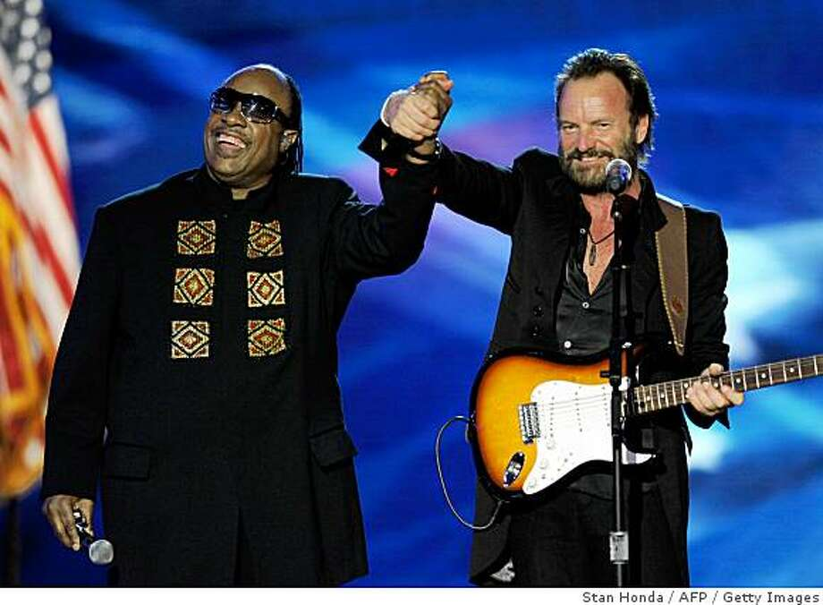 Stevie Wonder (L) and Sting (R) perform at the Neighborhood Ball January 20, 2009 in Washington, D.C., the first of ten inauguration balls. Photo: Stan Honda, AFP / Getty Images