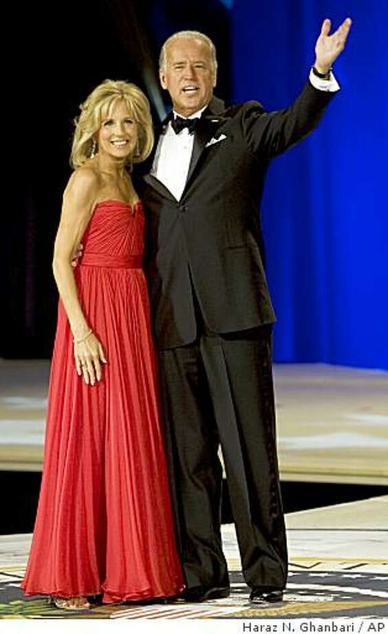 Vice President Joe Biden waves as he and his wife Jill attend the Commander in Chief's Ball, Tuesday, Jan. 20, 2009, in Washington. (AP Photo/Haraz N. Ghanbari) Photo: Haraz N. Ghanbari, AP