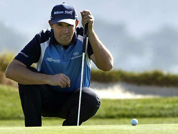 Padraig Harrington lines up his put on the seventh green of the Pebble Beach Golf Links during the second round of the AT&T Pebble Beach National Pro-Am golf tournament in Pebble Beach, Calif., Friday, Feb. 12, 2010. Photo: Lance Iversen, The Chronicle