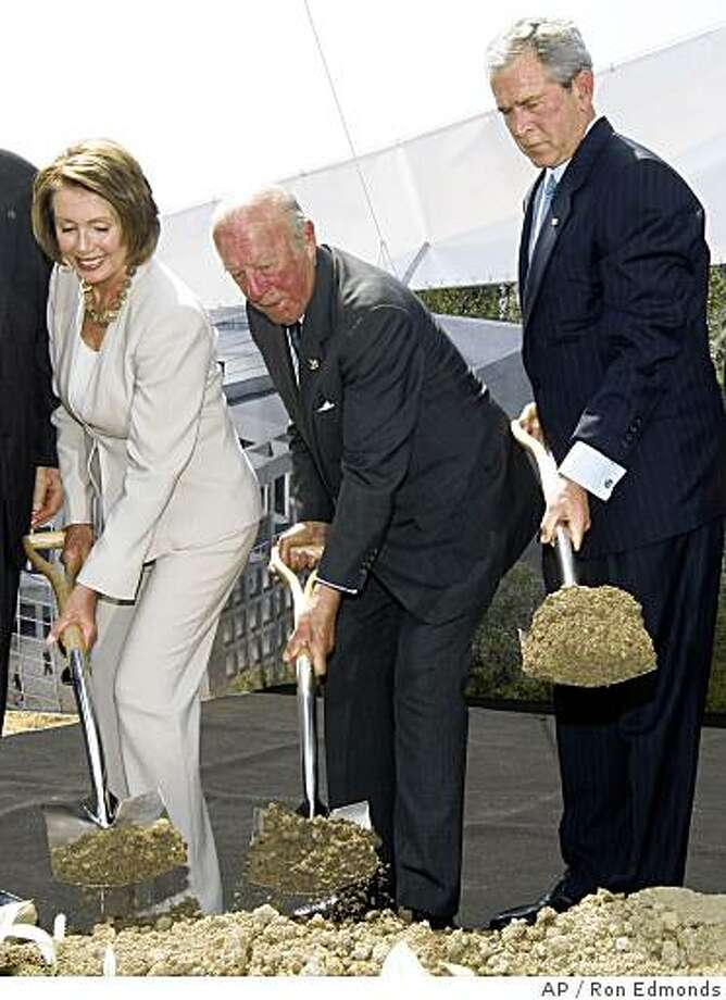 President Bush, former Secretary of State George Shultz, center, and House Speaker Nancy Pelosi of Calif., take part in a ceremonial groundbreaking of the United States Institute of Peace at Navy Hill, Thursday, June 5, 2008, in Washington. (AP Photo/Ron Edmonds) Photo: Ron Edmonds, AP