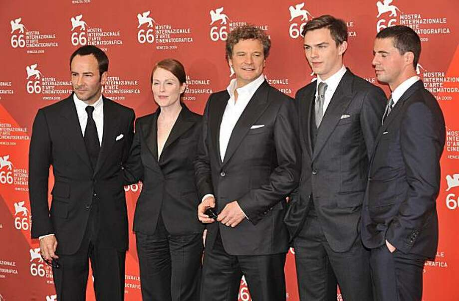 "Director Tom Ford, actors Julianne Moore, Colin Firth, Nicholas Hoult and Matthew Goode attend the ""A Single Man"" photocall at the Sala Grande during the 66th Venice Film Festival on September 11, 2009 in Venice, Italy. (Frederic Nebinger/Abaca Press/MCT) Photo: Frederic Nebinger, MCT"