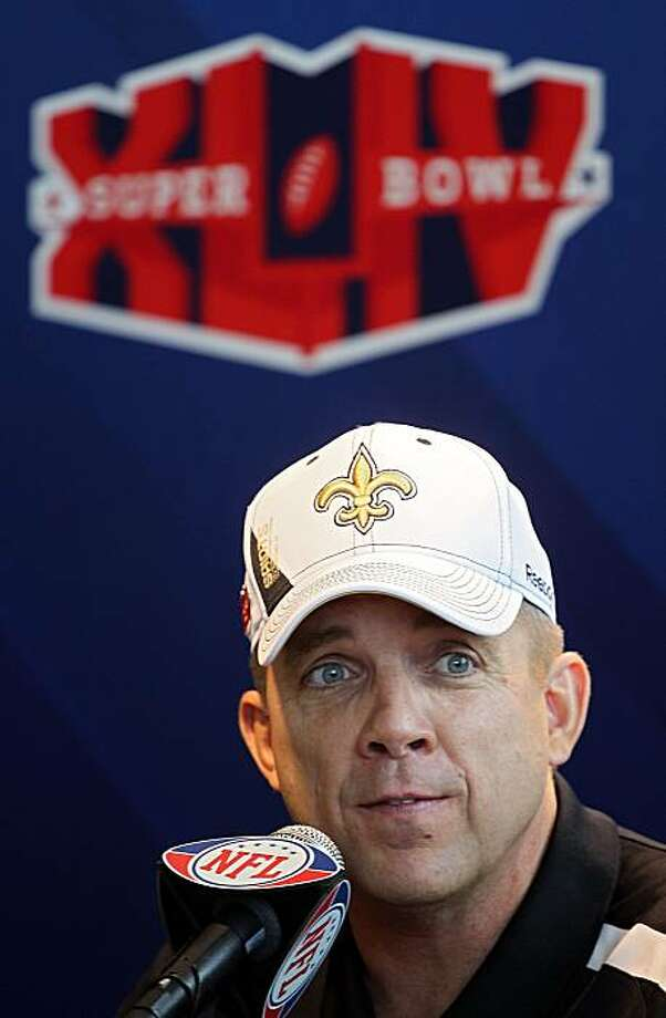 MIAMI GARDENS, FL - FEBRUARY 02:  Head coach Sean Payton of the New Orleans Saints speaks to members of the media during Super Bowl XLIV Media Day at Sun Life Stadium on February 2, 2010 in Miami Gardens, Florida. Photo: Scott Halleran, Getty Images