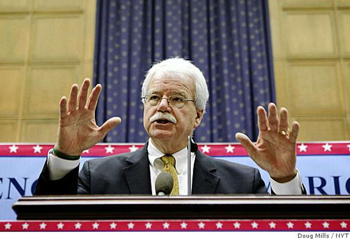 FILE -- (NYT83) WASHINGTON -- Aug. 31, 2007 -- DEMS-EDUC-LAW -- Representative George Miller, chairman of the House Education Committee, gestures during a news conference on Capitol Hill, in a Dec. 2006 file photo. As Congress returns next week, leading Democrats were struggling for the formula that could attract bipartisan support to extend the life of President Bush?•s education law, No Child Left Behind. In doing so, they were proposing to ease the pressure on suburban schools. (Doug Mills/The New York Times) Ran on: 09-06-2007 Rep. George Miller is sponsoring the compromise legislation on the federal student loan program with Sen. Edward Kennedy.