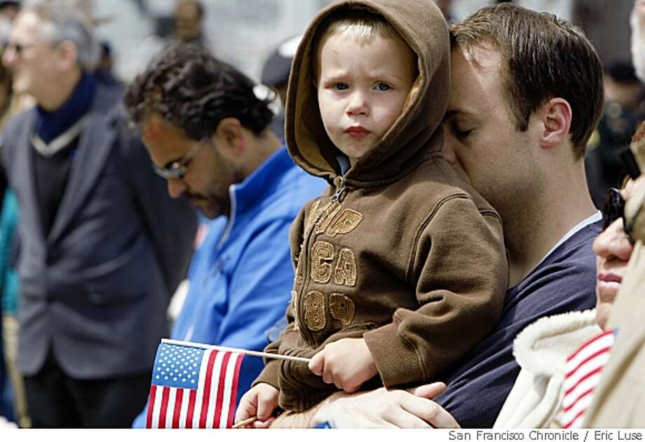 """Blake Robinson of San Francisco brought his two-year-old son Max to """"honor our country and those that have sacrificed"""" during the Memorial Day ceremonies at the Presidio in San Francisco on Monday, May 26, 2008. Photo by Eric Luse /  The Chronicle Photo: Eric Luse, Chronicle"""