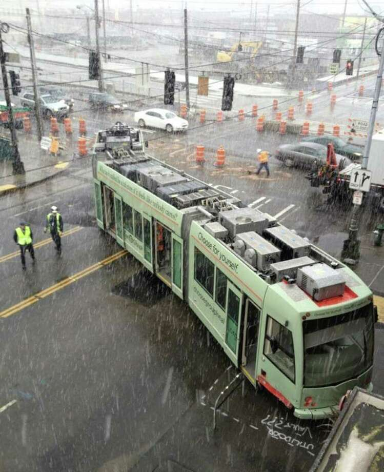 A South Lake Union Streetcar is shown after being involved in an accident that pushed it off it's tracks. (Photo used with permission.) Photo: RYAN HEALY / FOR SEATTLEPI.COM