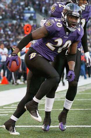 Ravens free safety Ed Reed reacts to his interception during a playoff victory last season. Reed intercepted two passes the last time he faced Tony Romo. Photo: AP