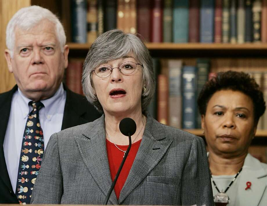U.S. Representative Lynn Woolsey (D-CA), (C), and co-sponsors of H.Con.Res.35 hold a news conference to call for hearings in the House International Relations Committee to bring U.S. troops home from Iraq while on Capitol Hill, February 9, 2005. The resolution would express 'the sense of Congress that the president should develop and implement a plan to begin the immediate withdrawal of United States Armed Forces from Iraq.' From L-R are: Representative Jim McDermott (D-WA) and Representative Barbara Lee (D-CA). REUTERS/Larry Downing Photo: Larry Downing, REUTERS