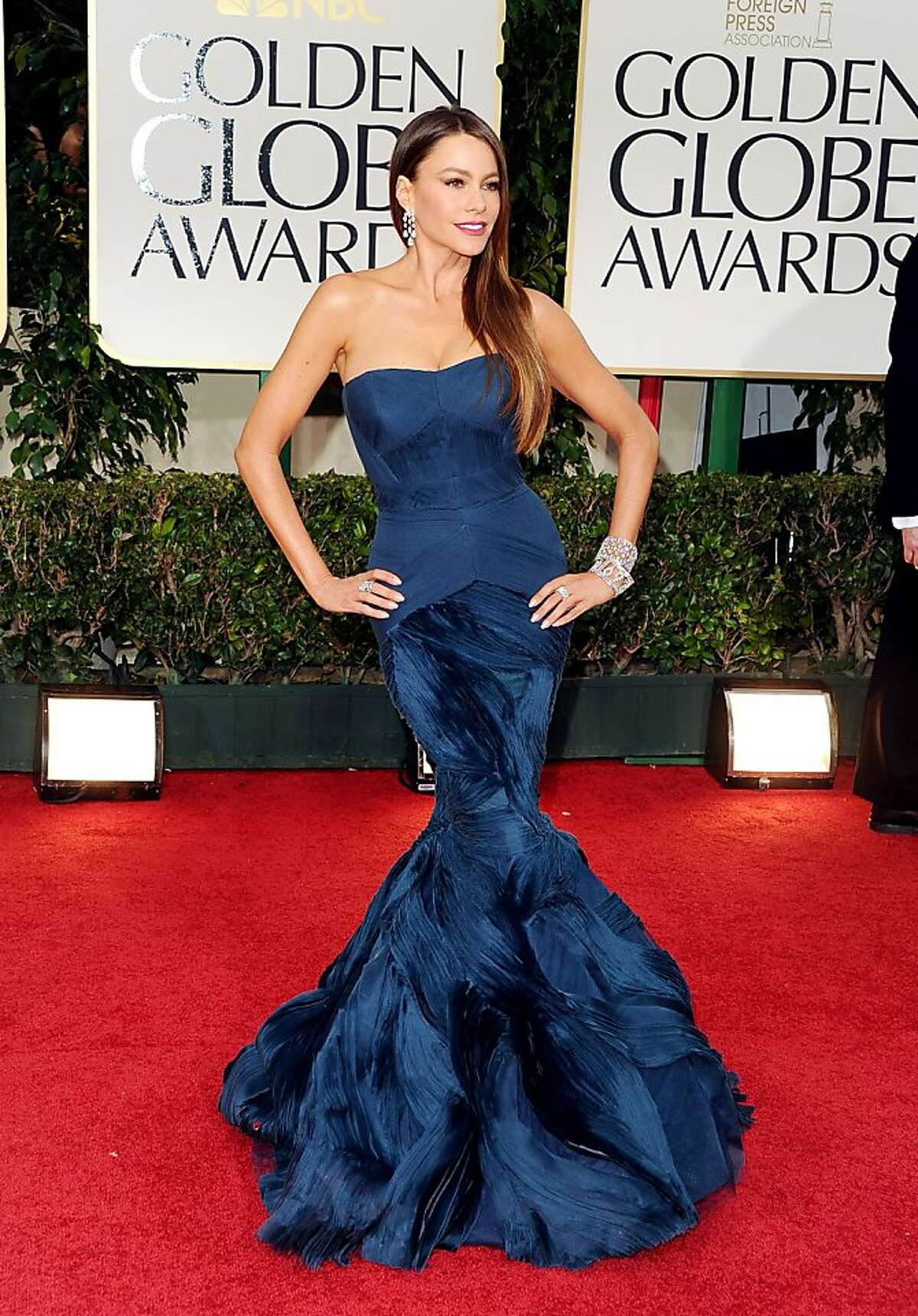 BEVERLY HILLS, CA - JANUARY 15: Actress Sofia Vergara arrives at the 69th Annual Golden Globe Awards held at the Beverly Hilton Hotel on January 15, 2012 in Beverly Hills, California. (Photo by Jason Merritt/Getty Images)