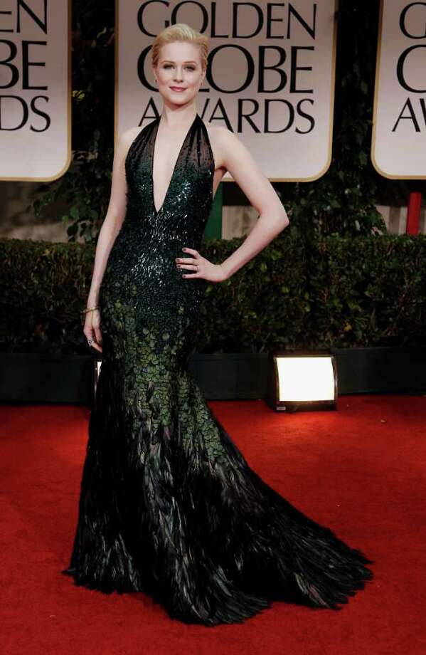 Evan Rachel Wood arrives at the 69th Annual Golden Globe Awards Sunday, Jan. 15, 2012, in Los Angeles. Photo: Associated Press