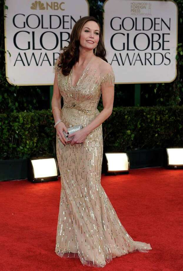 Diane Lane arrives at the 69th Annual Golden Globe Awards Sunday, Jan. 15, 2012, in Los Angeles. Photo: AP