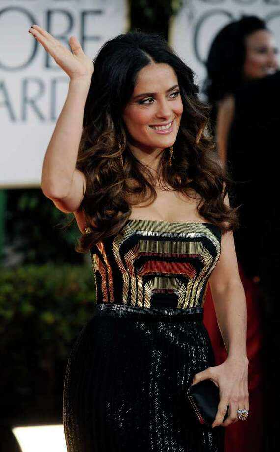 Salma Hayek arrives at the 69th Annual Golden Globe Awards Sunday, Jan. 15, 2012, in Los Angeles. Photo: AP