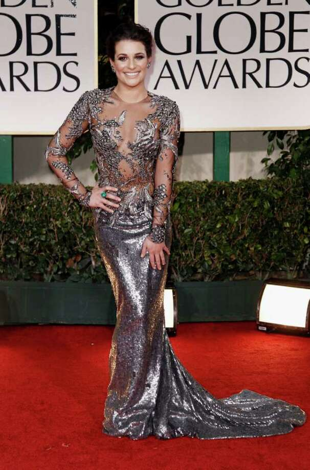 Lea Michele arrives at the 69th Annual Golden Globe Awards Sunday, Jan. 15, 2012, in Los Angeles. Photo: AP