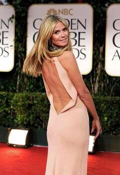 Heidi Klum's blush gown plunged inthe back. Photo: Frazer Harrison / 2012 Getty Images