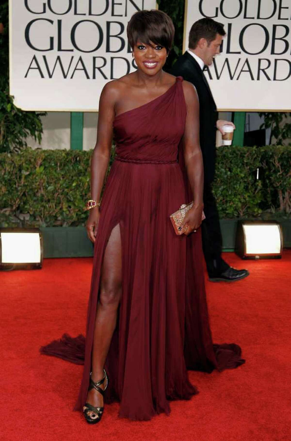 Viola Davis was bold and buff in violet, a sharp contrast to her humble look in The Help.