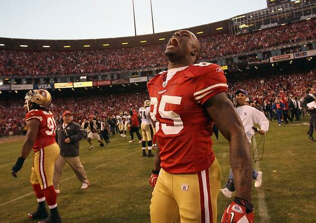 SAN FRANCISCO, CA - JANUARY 14:  Vernon Davis #85 of the San Francisco 49ers celebrates after they beat the New Orleans Saints in the NFC Divisional playoff game at Candlestick Park on January 14, 2012 in San Francisco, California.  (Photo by Ezra Shaw/Getty Images) Photo: Ezra Shaw, Getty Images