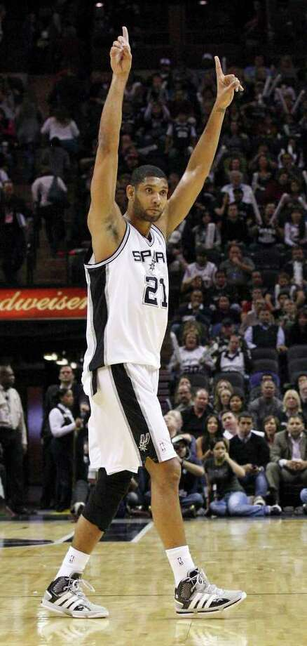 San Antonio Spurs' Tim Duncan reacts near the end of the game with Phoenix Suns Sunday Jan. 15, 2012 at the AT&T Center. The Spurs won 102-91. Photo: EDWARD A. ORNELAS, Express-News / SAN ANTONIO EXPRESS-NEWS (NFS)