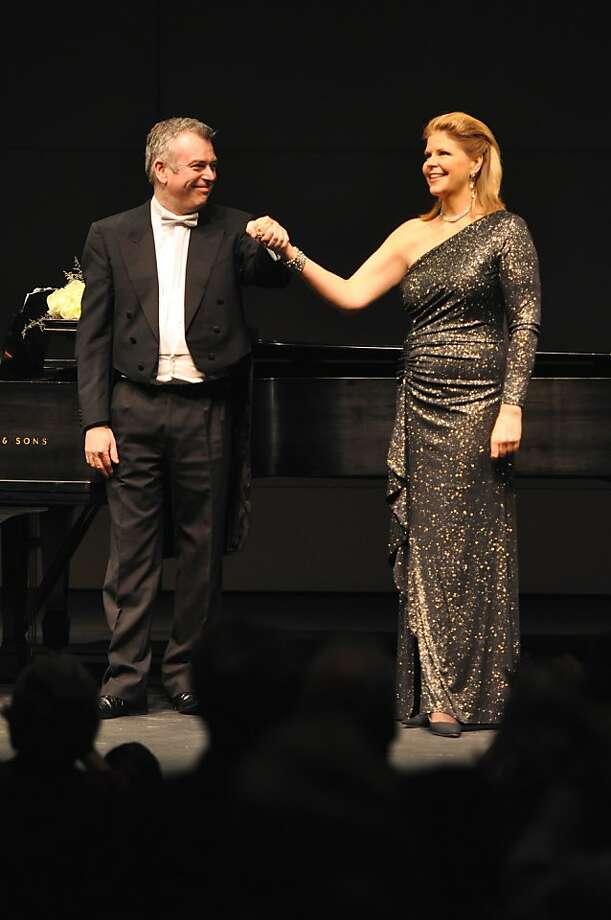 Pianist Malcolm Martineau (l.) and mezzo-soprano Susan Graham, Zellerbach Hall UC Berkeley, 1/15/12 Photo: Peg Skorpinski