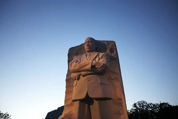 Dusk falls on the Martin Luther King, Jr. Memorial in Washington, on Tuesday, Aug. 23, 2011. (AP Photo/Jacquelyn Martin) Photo: Jacquelyn Martin, Associated Press
