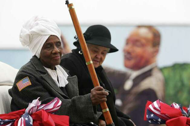 Ruth Statham, 77, left, representing Harriet Tubman, and Julie Iris Oldham, 77, representing the Quaker Lady, gather to participate in the Martin Luther King, Jr., 25th annual Commemorative March, Monday, Jan. 16, 2012. Photo: JERRY LARA, San Antonio Express-News / SAN ANTONIO EXPRESS-NEWS