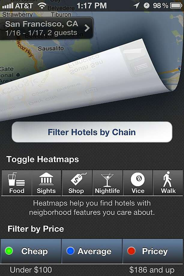 Hipmunk app enables user to book hotels as well as sort by price, quality, and neighborhood. Photo: Hipmunk
