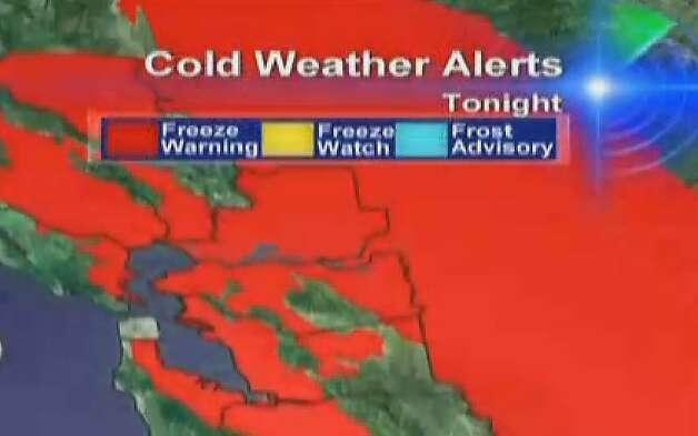 Freeze Warning for much of the SF Bay Area tonight Photo: Cbs5