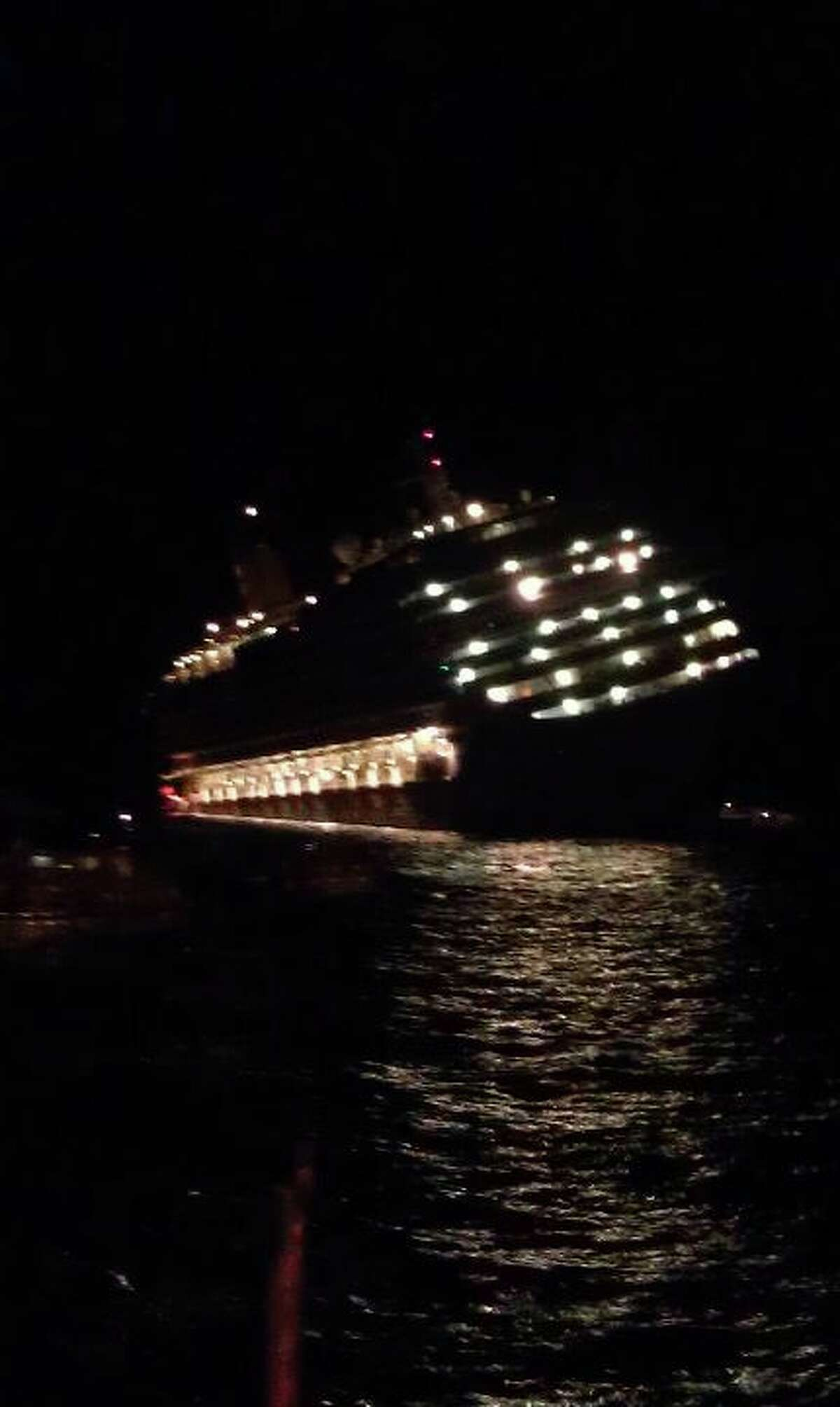 This photograph was taken by a Brian Aho and Joan Fleser, a Duanesburg couple who escaped with their daughter from the Costa Concordia after the cruise ship it started to sink off the coast of Italy on Friday, Jan. 13, 2012.