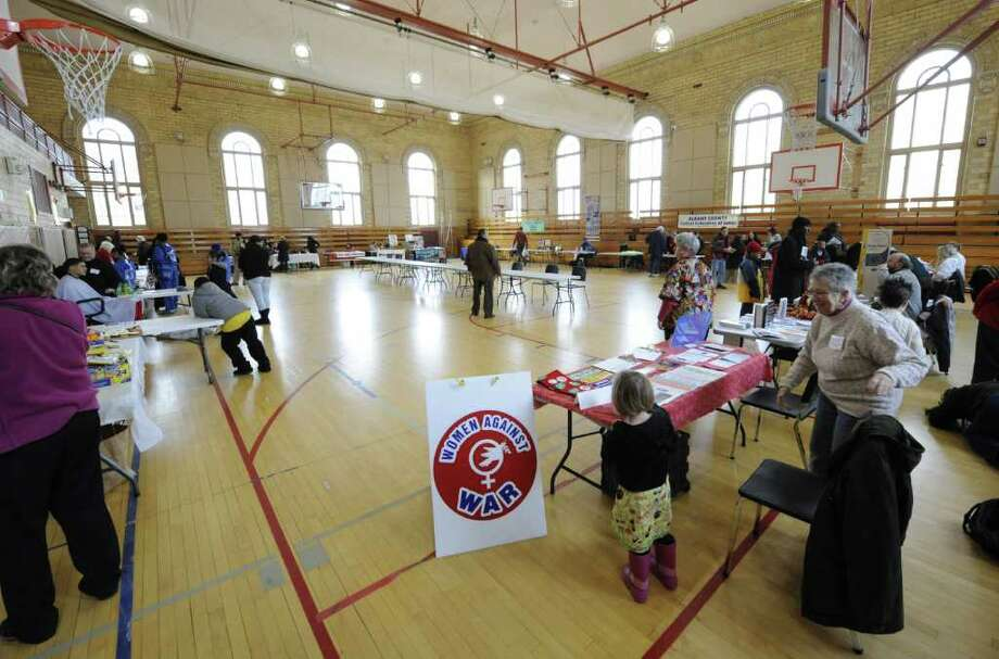 A show of vendors was held in conjunction with the 14th Annual Martin Luther King Celebration at the Hackett Middle School in Albany, N.Y. Jan. 16, 2012.  ( Skip Dickstein/Times Union) Photo: Skip Dickstein / 00016113A