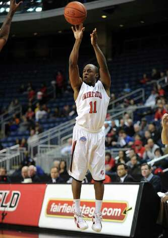 Fairfield's Desmond Wade takes a jump shot during the Stags' MAAC matchup with Rider at the Webster Bank Arena in Bridgeport on Monday, January 16, 2012. Photo: Brian A. Pounds / Connecticut Post