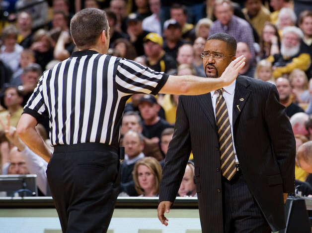 Missouri coach Frank Haith, right, argues a call with a referee during the second half of an NCAA college basketball game against Texas A&M on Monday, Jan. 16, 2012, in Columbia, Mo. Missouri won the game 70-51. Photo: Associated Press, L.G. Patterson / FR23535 AP
