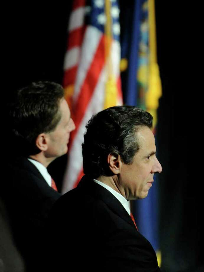 Gov. Andrew Cuomo moments before delivering his annual budget address in Albany, N.Y. Jan. 17, 2012.    (Skip Dickstein / Times Union) Photo: SKIP DICKSTEIN / 2011
