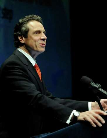 Gov.  Andrew Cuomo delivers his annual state budget address in Albany, N.Y. Jan. 17, 2012.    (Skip Dickstein / Times Union) Photo: SKIP DICKSTEIN / 2011