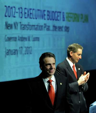 Gov.  Andrew Cuomo is introduced by Lt. Gov.  Robert Duffy before Cuomo gives his budget address in Albany, N.Y. Jan. 17, 2012.    (Skip Dickstein / Times Union) Photo: SKIP DICKSTEIN / 2011