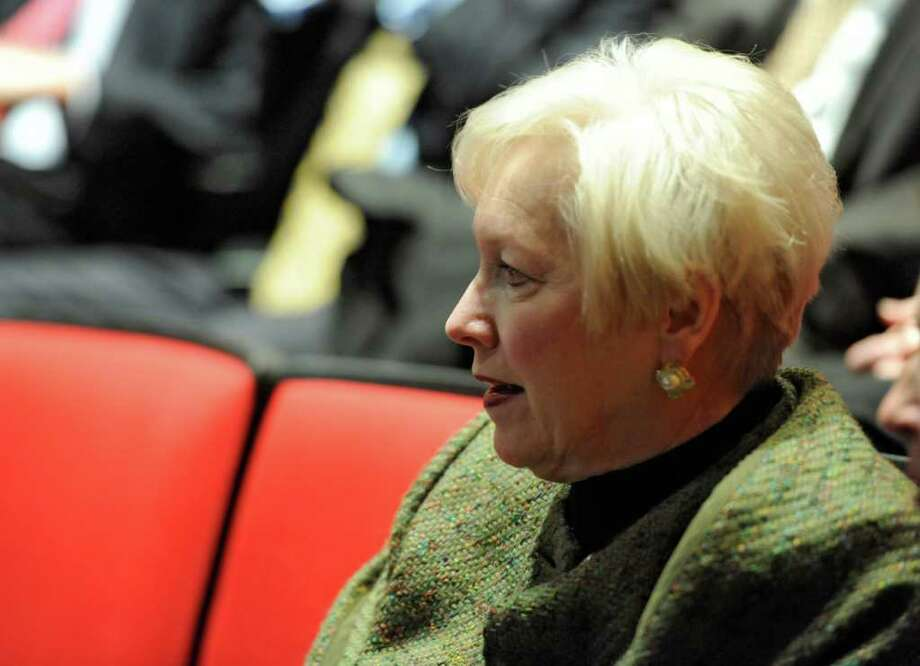 SUNY Chancellor Nancy Zimpher scans the crowd before Governor Cuomo gives his budget address in Albany, N.Y. Jan. 17, 2012.    (Skip Dickstein / Times Union) Photo: SKIP DICKSTEIN / 2011