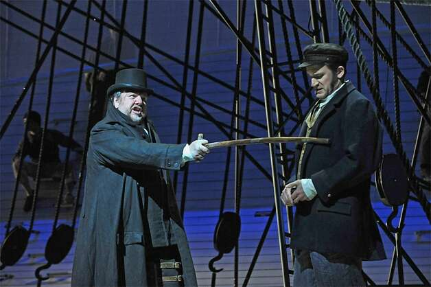 "Ben Heppner (left) and Morgan Smith star in the Dallas Opera production of Jake Heggie's ""Moby-Dick,"" which is coming to San Francisco in October. Photo: Karen Almond/Dallas Opera"