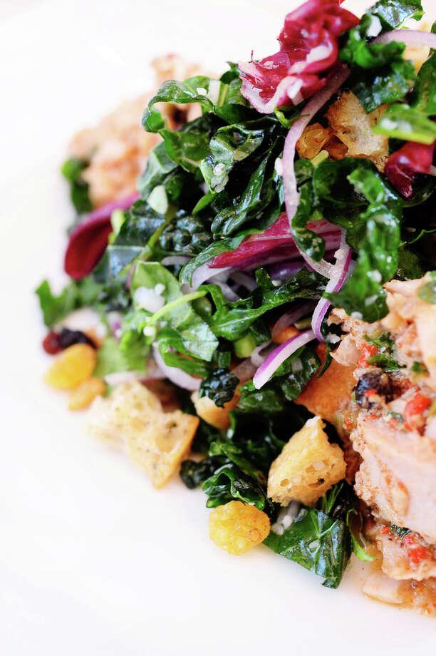 Tuscan Kale Salad (kale, pine nuts, golden raisins, ciabatta..
