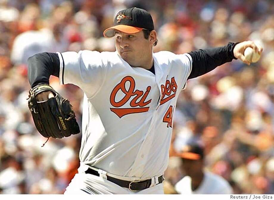 Baltimore Orioles relief pitcher Steve Kline, shown in this file photo taken at Camden Yards in Baltimore, Maryland May 22, 2005, is reported to have been traded by the club to the San Francisco Giants December 6, 2005. The deal, which is likely to be officially announced later on Tuesday, will send Kline to the Giants in exchange for reliever LaTroy Hawkins. REUTERS/Joe Giza/Files 0 Photo: JOE GIZA