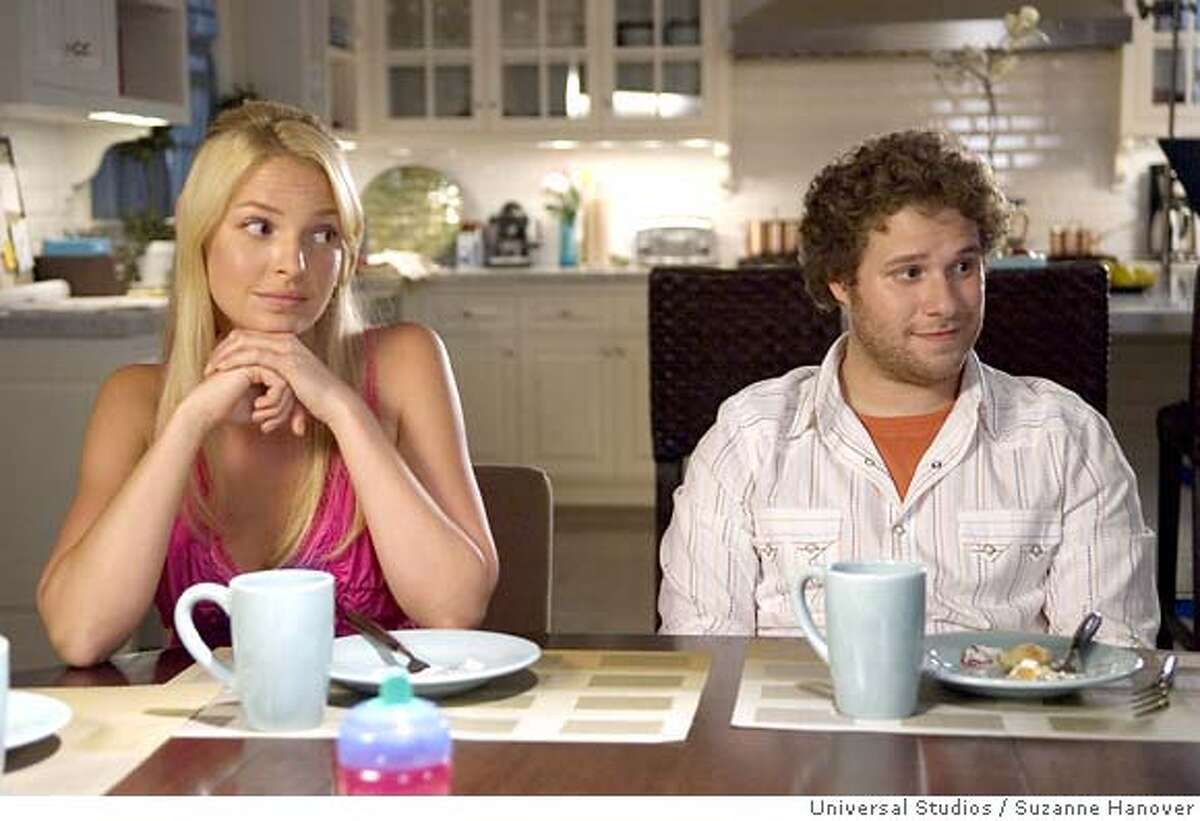 REVERSED IMAGE Alison Scott (KATHERINE HEIGL) and Ben Stone (SETH ROGEN) in Knocked Up, a comedy about the best thing that will ever ruin your best-laid plans: parenthood. Credit: Suzanne Hanover
