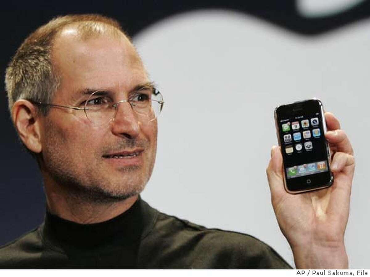 Apple CEO Steve Jobs demonstrates the new iPhone during his keynote address at MacWorld Conference & Expo in San Francisco, Tuesday, Jan. 9, 2007. (AP Photo/Paul Sakuma) Ran on: 01-23-2007 Steve Jobs reportedly was questioned by federal staffers. Ran on: 03-27-2007 Chicago band OK Go not only did dance steps on treadmills, it won a YouTube award for creativity. Ran on: 04-25-2007 Nancy Heinen Ran on: 04-25-2007 Nancy Heinen