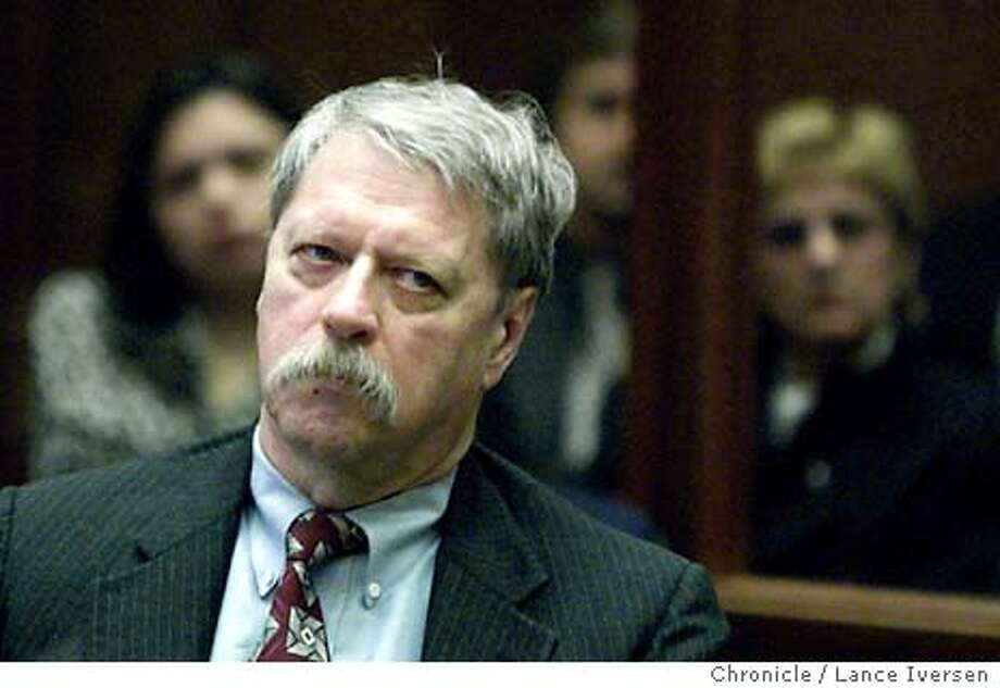 DOGTRIALE-C-19MAR02-MN-LI  Defendant Robert Noel glares at prosecutor Jim Hammer during Hammer's rebuttal just before the Dog Mauling death case was given to the jury. BY LANCE IVERSEN/SAN FRANCISCO CHRONICLE Photo: LANCE IVERSEN