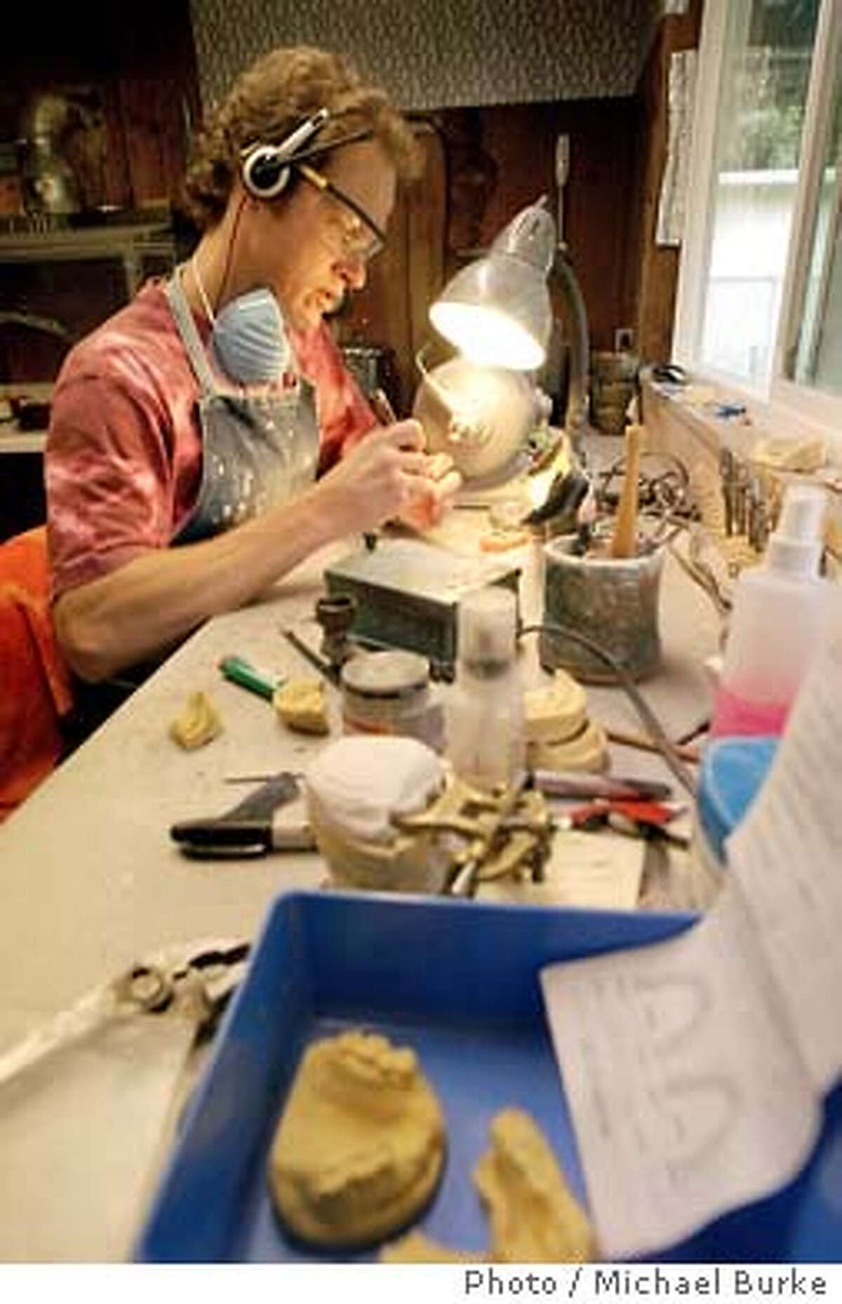 Redding resident Ivan Hall makes false as a profession. He is running for Governer of California in the recall election. He spends his days making false in a small workshop at his house. (Photo by Michael Burke/special to the chronicle)
