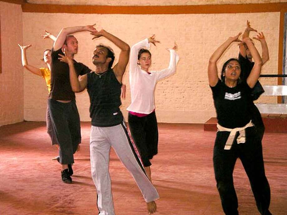 MJDC #3  Pictured (left to right): Melanie Elms, Ryan Smith, Jaydip Guha, Deborah Miller, Padma Menon and Levi Toney. Margaret Jenkins Dance Company  A slipping glimpse of the Margaret Jenkins Dance Company in residence in Kochi, India