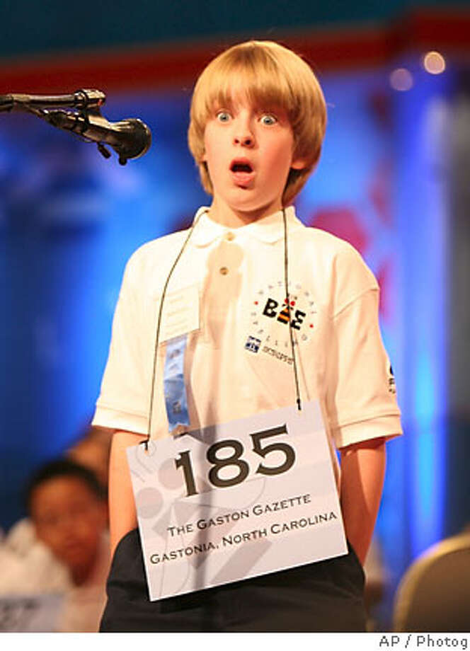 "Andrew Lay, 12, of Stanley, N.C., is in shock after correctly spelling the word ""negus"" during the fifth round of the Scripps 2007 Spelling Bee in Washington, Thursday, May 31, 2007. (AP Photo/Lawrence Jackson) Photo: Lawrence Jackson"