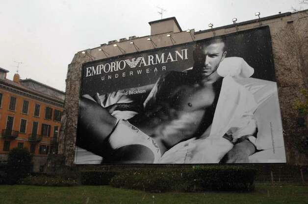 Here's a close-up of the mural featuring David Beckham in Armani skivvies, photographed by Mert Alas and Marcus Piggott. Photo: Courtesy Photo