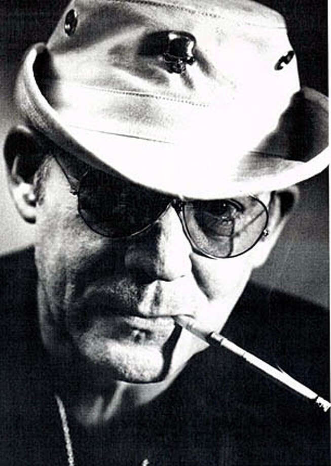 "(NYT5) UNDATED -- Feb. 21, 2005 -- OBIT-THOMPSON-BW -- Hunter S. Thompson in an undated portrait released in 2003 by Simon & Schuster during publication of his book, ""Kingdom of Fear: Loathsome Secrets of a Star-Crossed Child in the Final Days of the American Century."" Thompson, the maverick journalist and author whose savage chronicling of the underbelly of American life and politics embodied a new kind of nonfiction writing he called ""gonzo journalism,"" died Sunday, Feb. 20, 2005 in Colorado. Tricia Louthis, of the Pitkin County Sheriff's Office, said Thompson had died of a self-inflicted gunshot wound at his home in Woody Creek, Colo. He was 65. (William J. Dibble/Simon & Schuster via The New York Times) * * Ran on: 02-27-2005  Hunter S. Thompson, barfly, gadfly, genius, was toasted at the Tosca Cafe. XNYZ - UNDATED PHOTO Photo: SIMON & SCHUSTER"