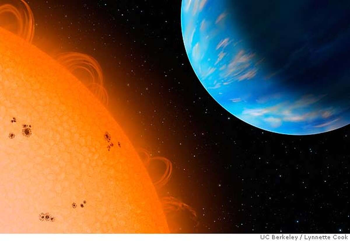 An artist's concept of the Neptune-sized planet GJ436b (right) orbiting an M dwarf star, Gliese 436, at a distance of only 3 million miles. With a density similar to that of Neptune, the exoplanet is an ice giant and probably has a rocky core and lots of water that forms ice in the interior under high pressure and temperature. GJ436b was discovered in 2004 by the California and Carnegie Planet Search team, and found by Belgian astronomer Micha�l Gillon in May 2007 to transit its star. Credit: Copyright Lynnette Cook / UC Berkeley Handout.