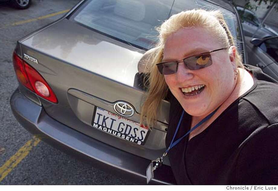 betsy_093_el.JPG  Betsy Lindsey, Ticket services manager, with her license plate. FOr a profile on ballet ticketing manager we go shoot Betsy and her fancy license plate as well as anything else you can think of/  Betsy Lindsey the Ticket services manager at the San Francisco Ballet whose busy time of the year is right now dealing with people buying for the Nutcracker. We talk to this woman with a quirky personality (she has a license plate that says Ticket Goddess) as well as get anecdotal stories of ticket buyers and their crazy demands. And how the process works (just a little). And after this you can buy your tickets to the Nutcracker which opens Dec. 2. Event on betsy_093_el.JPG in San Francisco Eric Luse / The Chronicle MANDATORY CREDIT FOR PHOTOG AND SF CHRONICLE/ -MAGS OUT Photo: Eric Luse