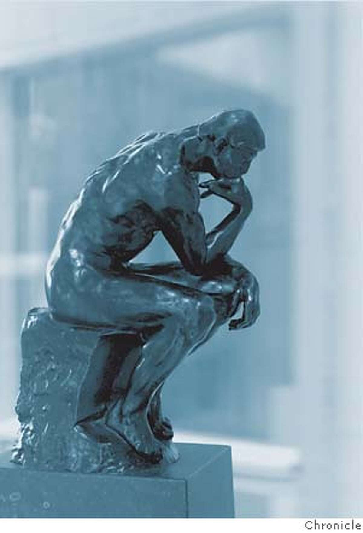 """photo illustration for Steven Winn column on unconscious thinking in art. Chronicle__COLLECTING12F-C-31JAN00-PK-JLT Rodin's 1904 sculpture """"Le Penseur"""" is part of the collection of Allan Rappaport, M.D. of Tiburon, CA._25 Rolling Hills Road - Tiburon, CA_PHOTO BY JERRY TELFER/THE CHRONICLE__CAT Datebook#Datebook#Chronicle#05/28/2007#ALL#5star#E1#0497001748"""