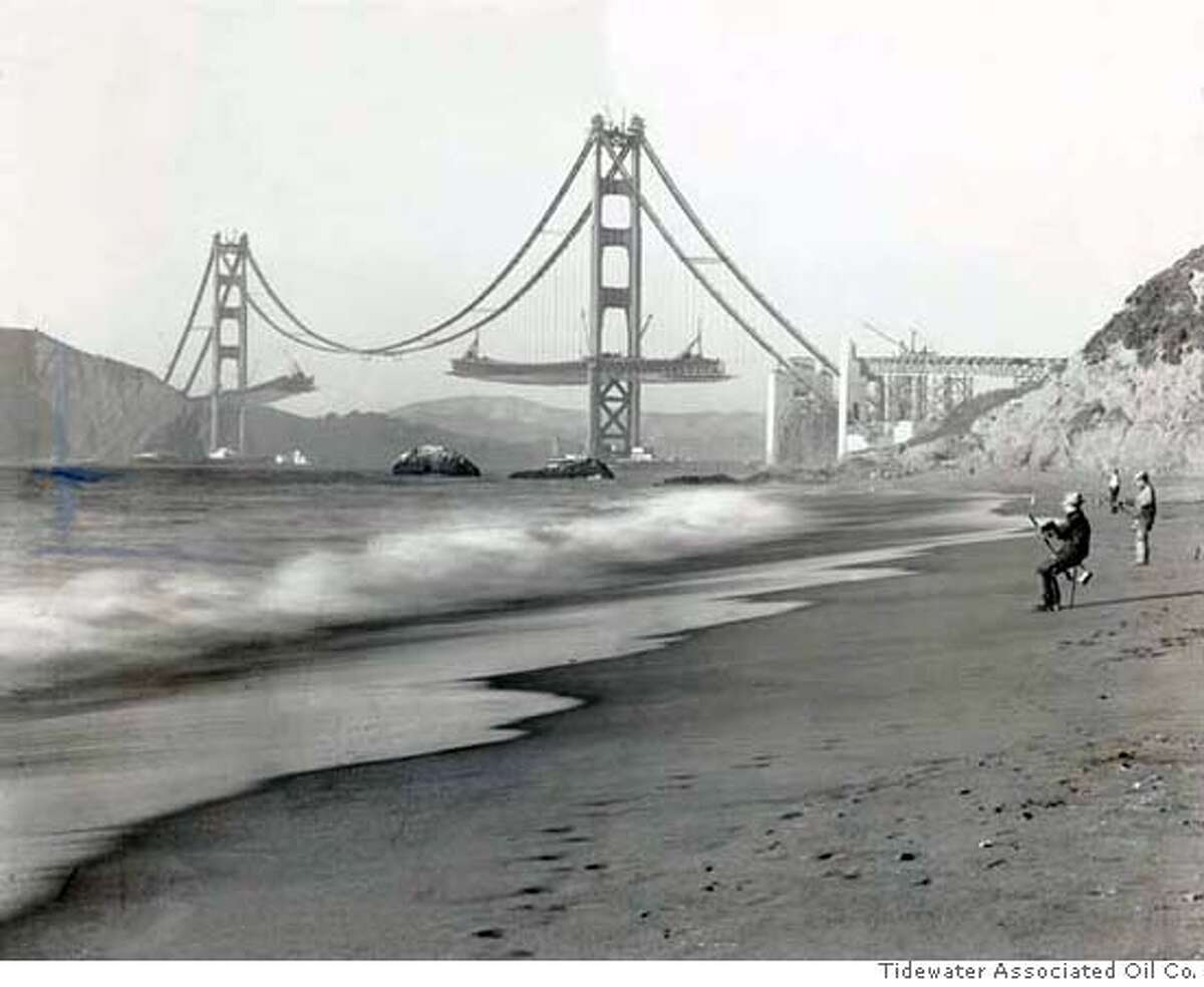 Bridge27_ph6.jpg Date Unknown - Final stage of construction with decks being extended outward from both Golden Gate Bridge towers. Photo Credit: Tidewater Associated Oil Co.